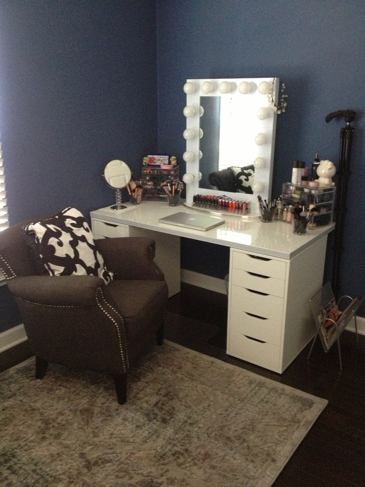 Make your own Vanity- Drawers- ikea Alex Table Top- ikea Linnmon Mirror- Vanity Girl Hollywood ...