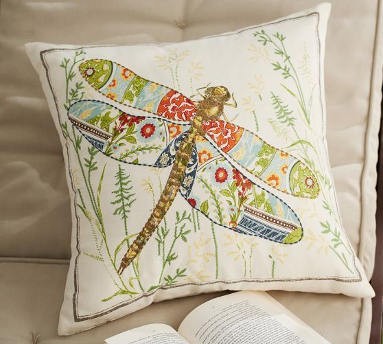 Anna Marie Embroidered Dragonfly Indoor Outdoor Pillow