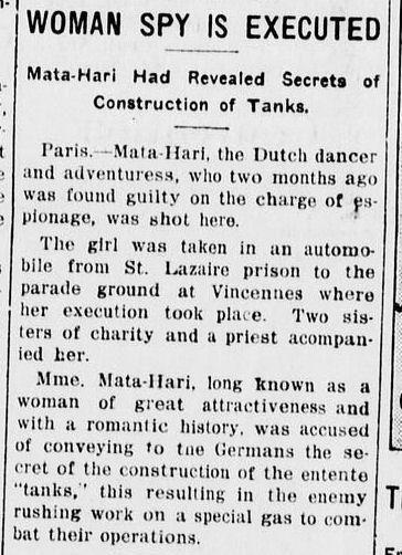 #MataHari | Black Dispatch Newspaper from Oklahoma City | Execution of Mata Hari | paper date October 19, 1917