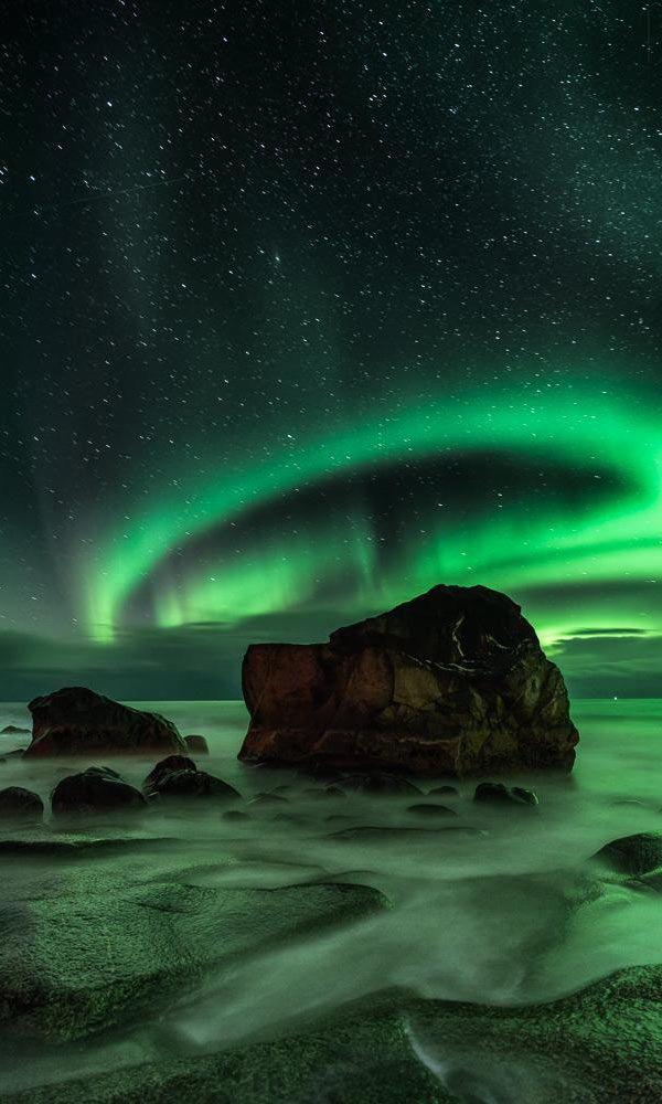 Halo Aurora, Uttakleiv, Lofoten Islands, Norway