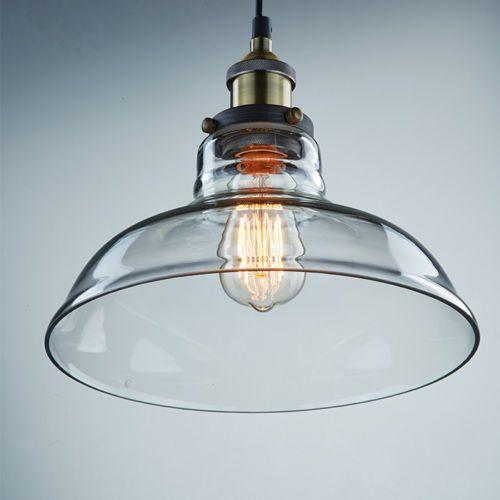 Industrial Pendant Light Glass: Industrial Edison Glass Shade Ceiling Pendant Light Lamp