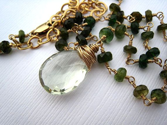 Green Amethyst Green Tourmaline Wire Wrapped by Sienna Grace Jewelry