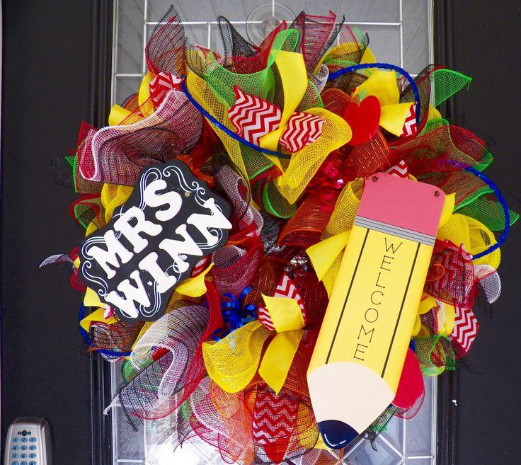 Teacher Wreath, Teacher Gift, Teacher Appreciation, Door Hanger, Deco Mesh Wreath, Personalized Gift by OccasionsBoutique on Etsy