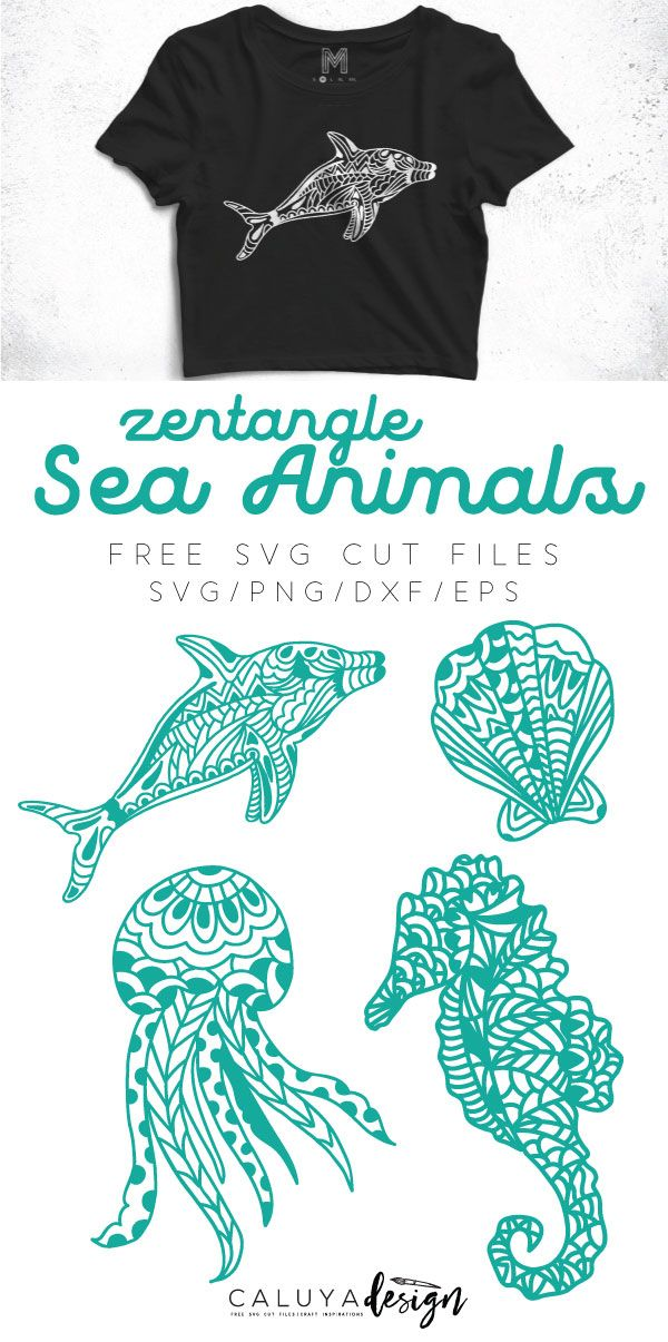 Free Sea Animal Zentangle SVG cut file, compatible with Cricut, Cameo Silhouette and other major cutting machine. Free sea animal SVG cut file, Jellyfish SVG cut file, seashell SVG cut file, sea horse SVG cut file, dolphin SVG cut file, free SVG cut file