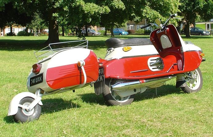 Cezeta 175cc 4cycle engined scooter..from the 1960's made in Czechoslovakia and pulling a trailer.