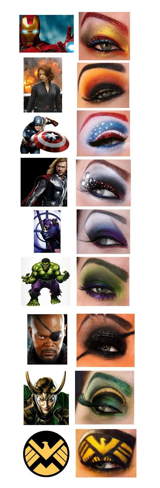 Avengers eye makeup. <3