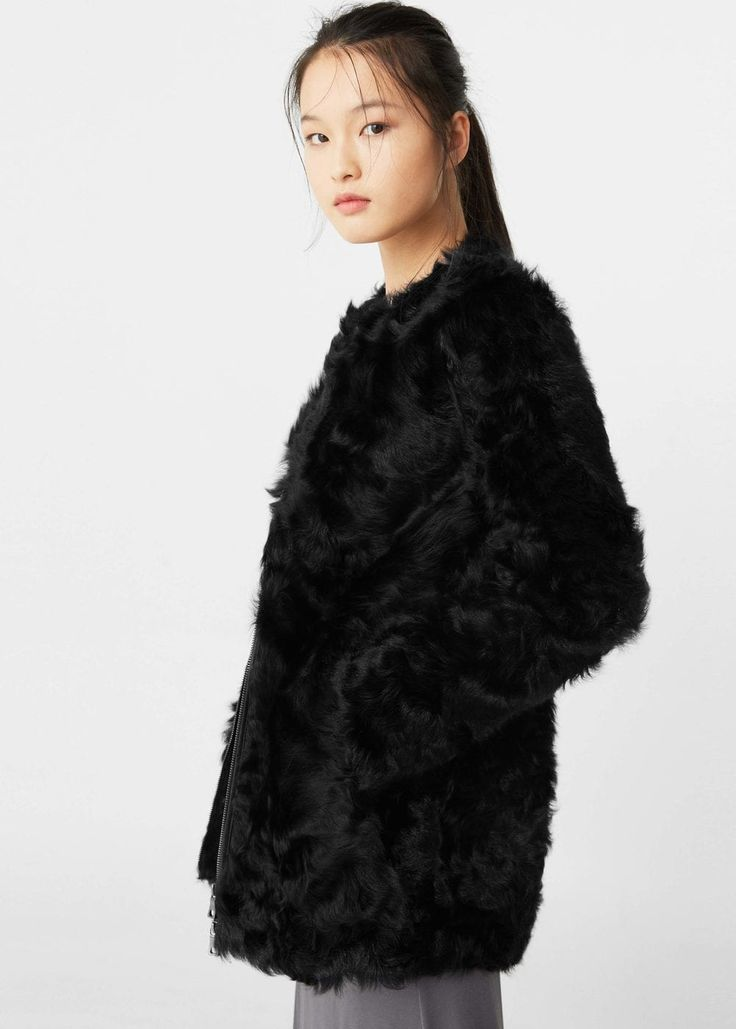 Fur leather coat | MANGO
