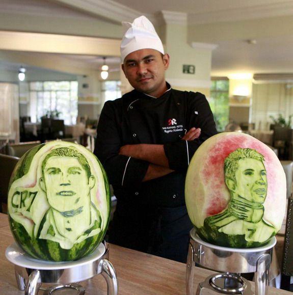 Brazilian chef creates Ronaldo, Messi & Neymar carvings in watermelons