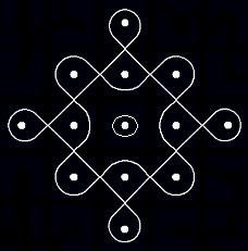 Kolangal: 5 - 10 Dots Kolam5 - 1 parallel dots (Neer Pulli) Kolam - Start with 5 dots in the center, leave one dot at both ends and stop at 1 by putting parallel dots at both sides.