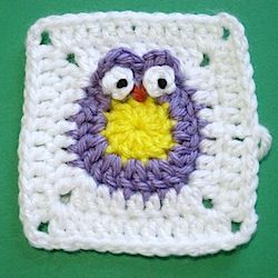 How to crochet an Owl Granny Square for baby blankets and other projects