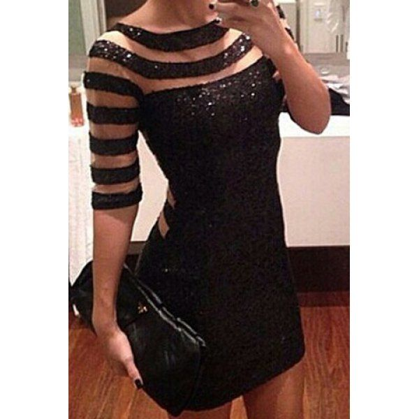 Scoop Neck Half Sleeves Striped Sequin Dress