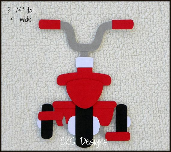 Die Cut Red Tricycle Toddler Toy Bike Scrapbook by ckspaperscraps