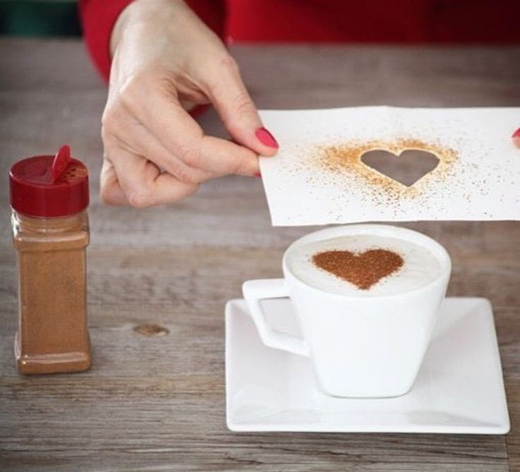 #DIY at home! Decorate your #coffee at home :) Just use a cut out from paper and sprinkle some cinnamon!