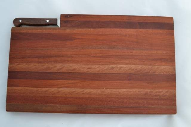 #Jarrah Bread Board with #Bread Knife recessed within the board $55.00 www.ozwood.com.au