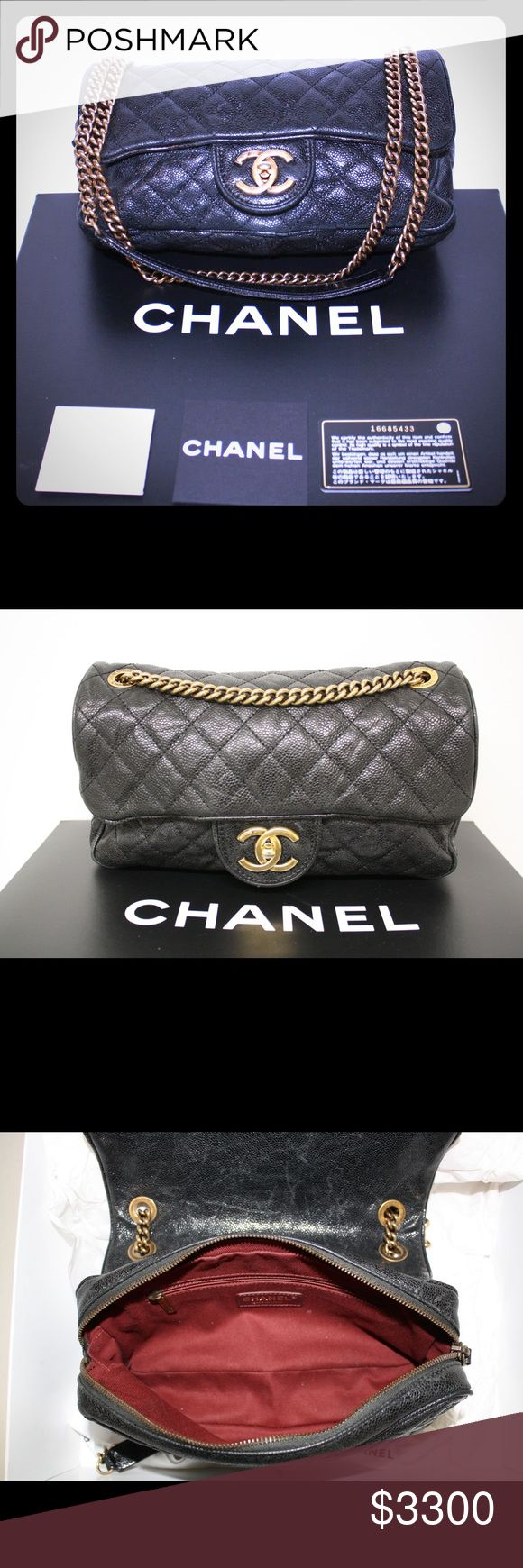 """💯Authentic Chanel Black Bag 💯 authentic Chanel bag w/authenticity card. Comes in box w/shopping bag and includes duster bag for purse! Used condition: light rubbing/minimal wear on piping/trim of bag. Wear on closure of bag. I can take more pictures. Still in fantastic condition with no significant stains inside of bag. Strap is moveable: wear as shoulder bag (12"""") or cross body (18"""") Rare black pebble leather with rustic gold hardware & dark red lining. Bought in 2013 from Neiman Marcus…"""