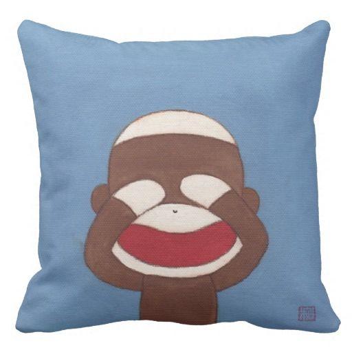見ざる。。Three Wise Sock Monkeys(See No Evil)Throw Pillow #zazzle #pillow