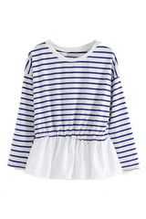 Striped Flouncing Hem Elastic Blouse weekend sweet!