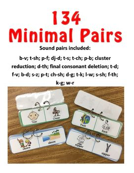 Use these minimal pairs for articulation and phonological processes treatment!print, cut out, laminate, put on rings to make flip booksor use as worksheets10 minimal pairs of the following:b-v, t-sh, p-f, dj-d, t-s, t-ch, p-b, t-d, f-v, b-d, s-z, p-t, ch-sh, d-g, t-k, l-w, s-sh, k-g, w-r, cluster reduction28 minimal pairs of Final Consonant Deletion8 minimal pairs of d-th, f-th
