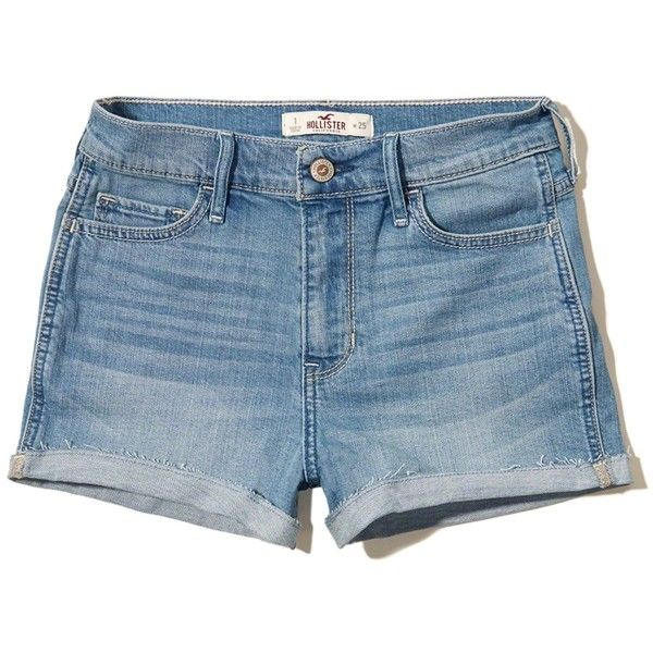 Hollister High Rise Denim Shorts (145 ZAR) ❤ liked on Polyvore featuring shorts, short, hollister, skorts, medium wash, high waisted shorts, high-waisted jean shorts, frayed jean shorts, golf skirts and high waisted short shorts