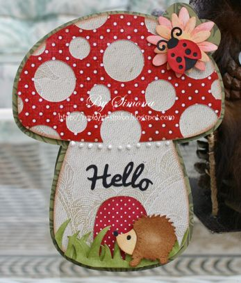 I love it when I look at a card and it makes me smile! Simona made the Mushroom Card from ENCHANTED AUTUMN SVG KIT and added a few of her own embellishments. The red paper with white dots really does make the card, don't ya think! The contrast is amazing! Too cute, that's all I can say!