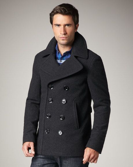 Men's Gray Short Wool-blend Pea Coat | Coats, Gray shorts and Wool