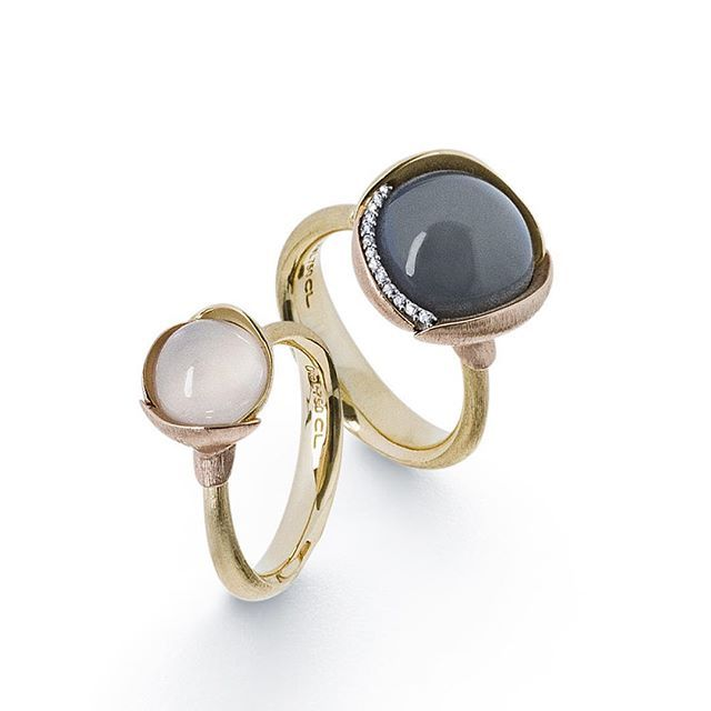 Combination of white and grey moonstone - treasured stones from Sri Lanka #lotusrings #lotuscollection #luxury #finejewellery #gemstones #whitemoonstone #greymoonstone #srilanka #olelynggaard #olelynggaardcopenhagen #charlottelynggaard @charlottelynggaard_dk