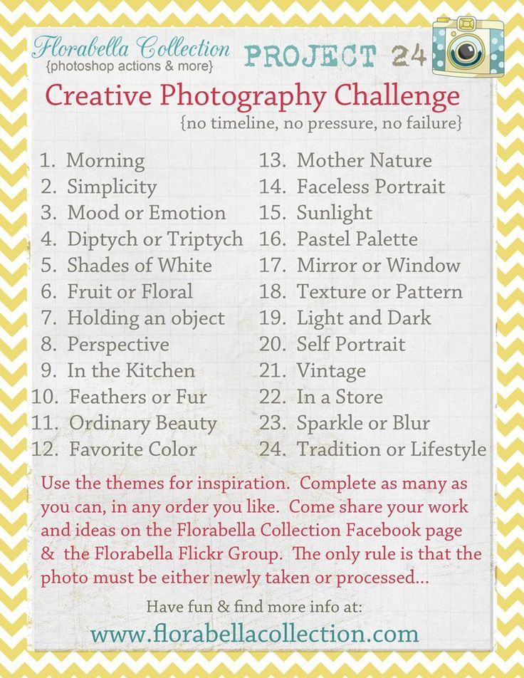Great #photography list for when your feeling uninspired. Love this! via florabella.com