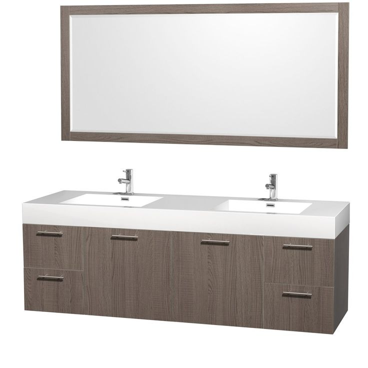 Wyndham Collection Amare 72 inch Double Bathroom Vanity in Grey Oak with Acrylic-Resin Top, Integrated Sinks, and 70 inch Mirror - Vanity Sinks - Amazon.com