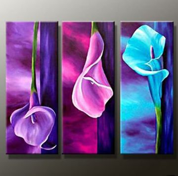 Colorful Flowers Hand-painted 3-piece Modern Oil Painting on Canvas