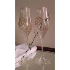 κρύσταλλο Ποτήρι σαμπάνιας γάμου χρυσή αγάπη Crystal hand painted wedding champagne flute Golden love