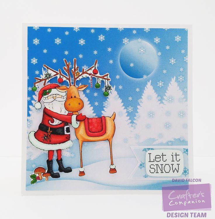 David Falcon. Nordic Christmas EZMount Stamp Set - Santa's Helper. Pearl White Shimmer cardstock Spectrum Noir markers CG4, JG2, DR5, CR8, GG2,EB1, BT1, BT2,TN5, TN7, FS9, TRUE BLACK AND BLENDER. @Crafter's Companion US #spectrumnoir