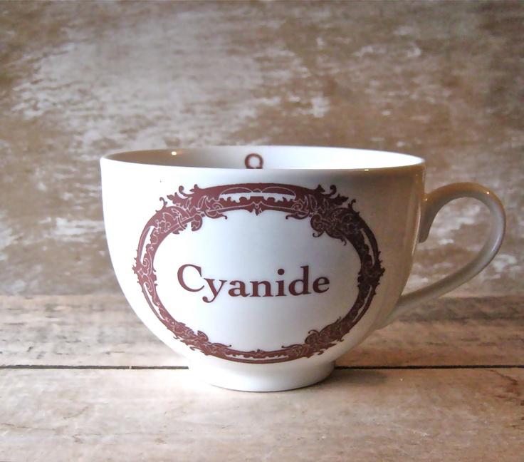 Cyanide Poison Mug Apothecary Label Macabre Humor 23 oz. $24.00, via Etsy.