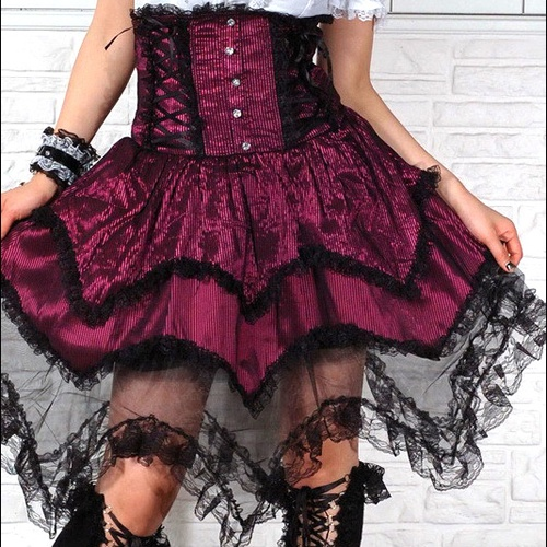 Red And Black Pinstripe Gothic Lolita Fashion High Waisted Skirt SKU 11406070