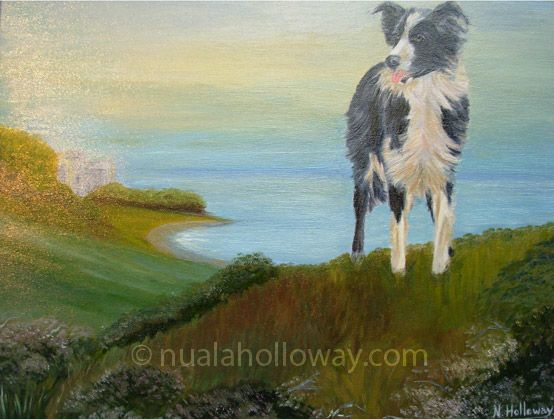 """A Collie's View"" by Nuala Holloway - Oil on Canvas #Collie #Dog #OilPainting #IrishArt"