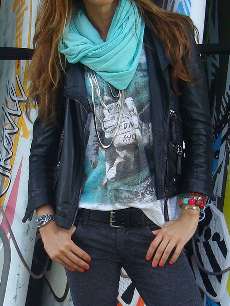 possible tenidas for easter | mytenida en stylelovely.com | leather  jacket & turquoise