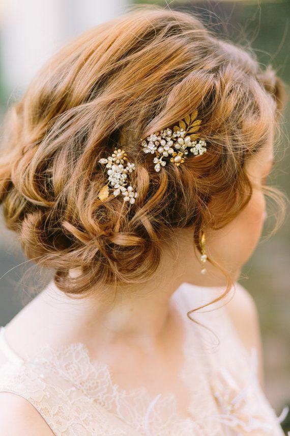Pearls, rhinestones and brass leaves hair pin set by One World Designs Bridal Jewelry || Amara • Bridal Registry • ||