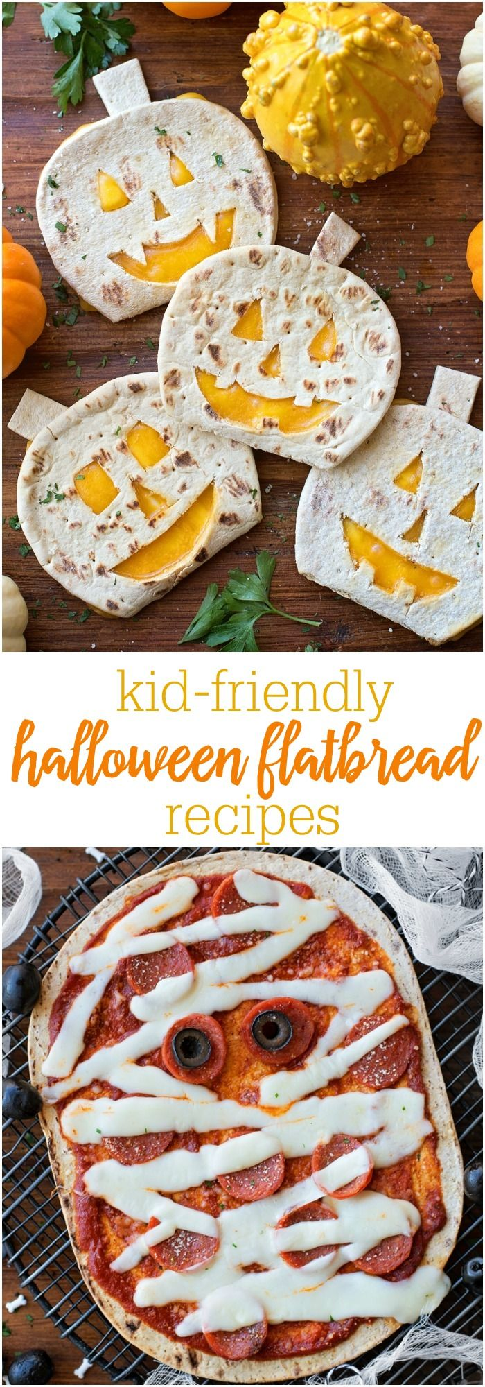 Kid-Friendly Halloween Flatbread recipes including Pumpkin Quesadillas and Mummy Pizzas - perfect for Halloween!