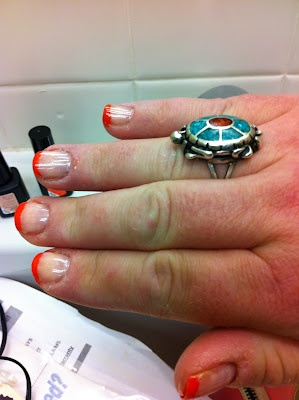 Saint Salvage: Playin' with GEL Polish: Sensational French with BRIGHT tips