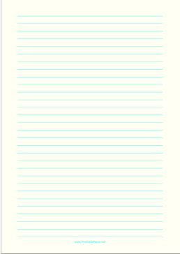 Wide ruled paper with cyan lines on a pale yellow background. This type of paper can be helpful for people with special needs such as dysgraphia and dyslexia or scotopic sensitivity that makes white paper appear too bright. Free to download and print