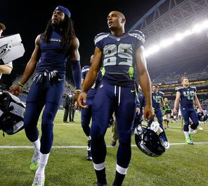 Seahawks players Richard Sherman, left, and Doug Baldwin have a bond that goes back to their college years together at Stanford.