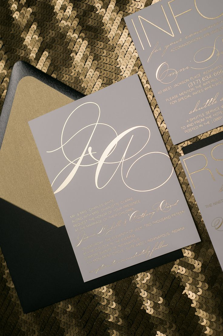 Gold Foil Stamping Modern Calligraphy Wedding Invitations| Elegant Wedding Invitations, Jessica Suite, Romantic Styling, Black Tie Wedding Invitations, Black and Gold, Gold Foil Stamping, Gold Foil Wedding Invitations, New Year's Eve Wedding Invitations, wedding Invitations, Just Invite Me