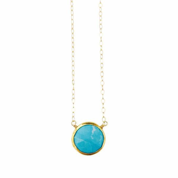 Ashley Necklace Turquoise Gemstone in Gold
