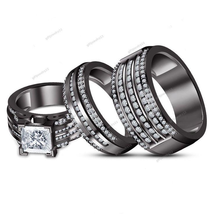 2.55 CT.  Princess  Cut  Diamond Trio Matching Engagement Wedding Trio Ring Set #giftjewelry