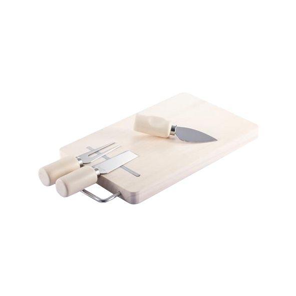 COD.VN047 Set para Queso con 3 prácticas herramientas para quesos + tablero de madera. Incluye banda magnética sobre la tabla, para fijar las herramientas a ella.