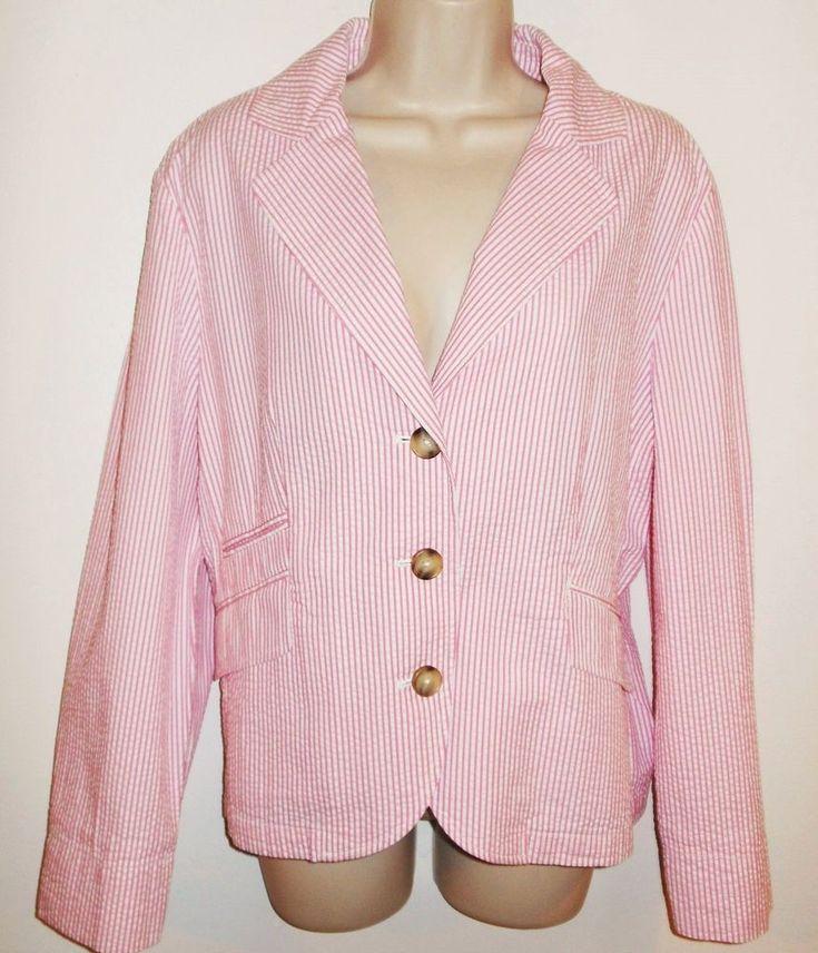 LL Bean Seersucker Blazer 16P 18P Jacket NEW Stripe Pink White Petite NWT L.L. #LLBean #Seersucker #PinkSeersucker #ValentinesDay #PrettyInPink #SummerBlazer #Petite