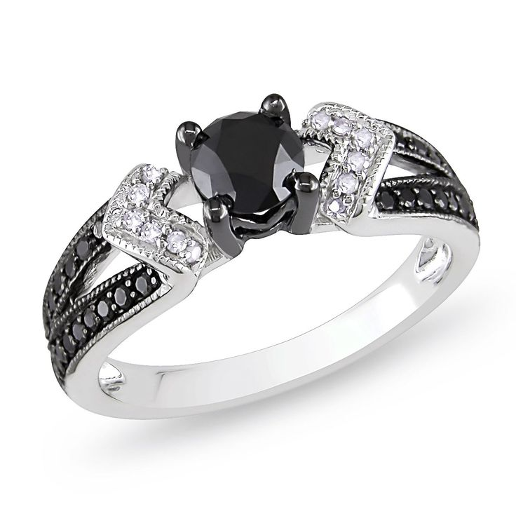 Sterling Silver with Black Rhodium 1ct TDW Black and Diamond Split Shank Engagement Ring by Miadora