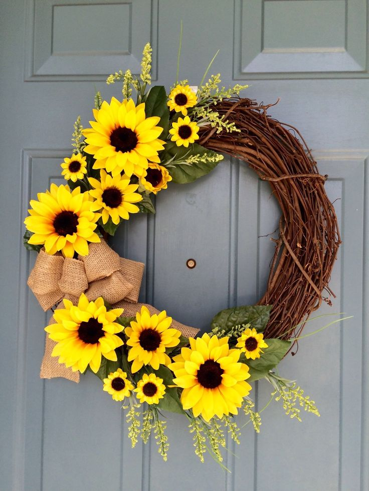 Sunflower Front Door Wreath - Sunflower Wreath - Spring Sunflower Wreath - Sunflower Decoration - Sunflower Door Hanger by WallflowersbyKerri on Etsy