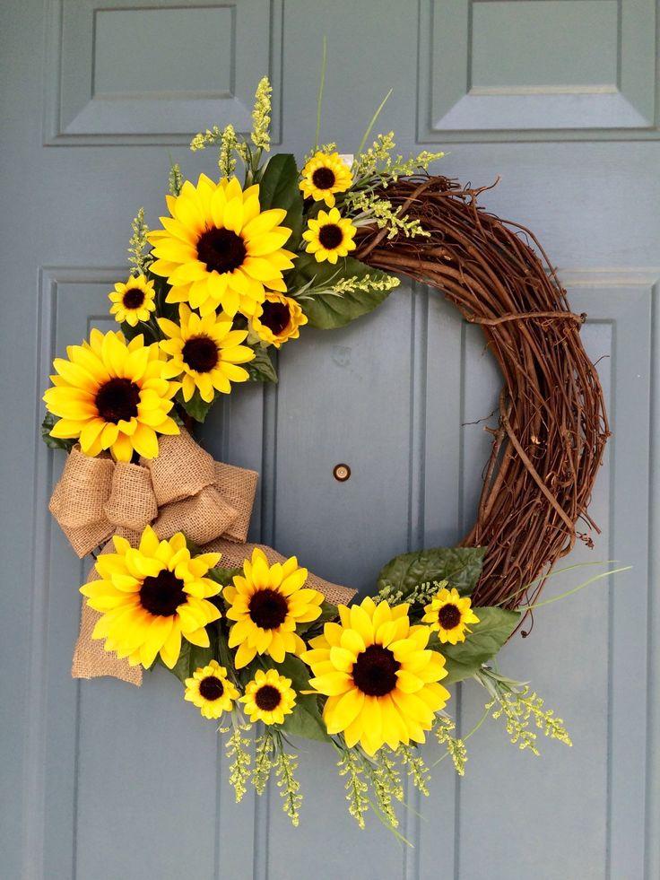 Sunflower Front Door Wreath - Sunflower Wreath - Spring Sunflower Wreath - Sunflower Decoration - Sunflower Door Hanger by WallflowersbyKerri on Etsy