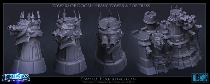 Heroes Of The Storm - Towers Of Doom - Heavy Towers And Fortress, David Harrington on ArtStation at https://www.artstation.com/artwork/kOzwA
