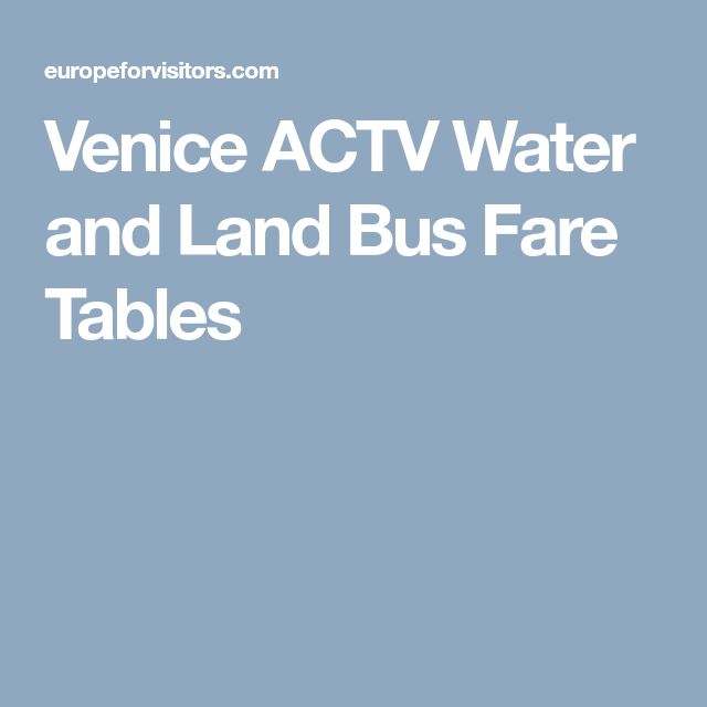 Venice ACTV Water and Land Bus Fare Tables